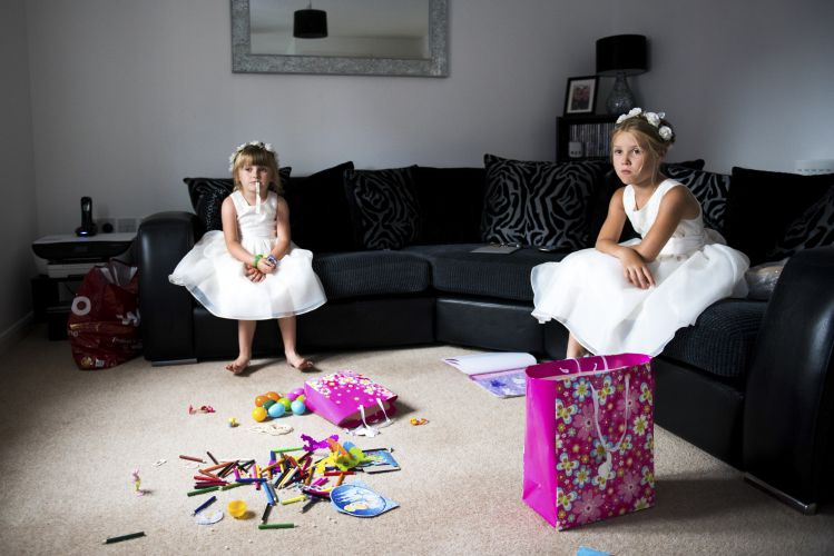 Photograph of Flower girls waiting at a Kent Wedding