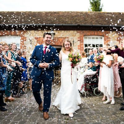 Confetti photograph at the Secret Garden in Ashford Kent