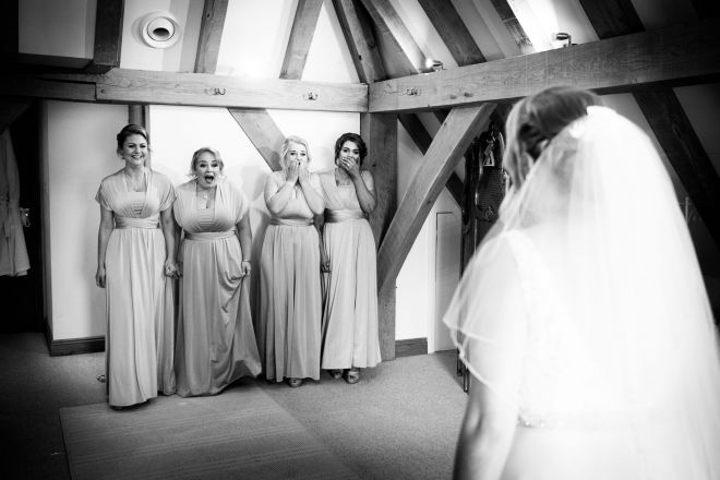 first look bridesmaids old Kent barn bridal suit