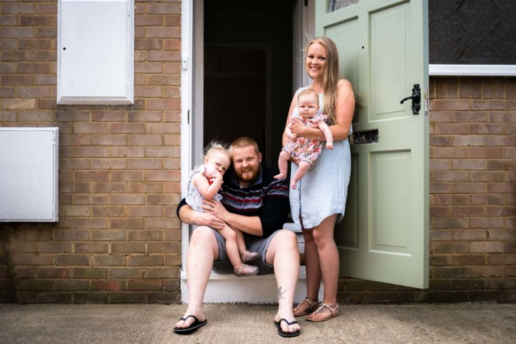 Family portrait on the doorstep in Herne Bay during the covid lockdown