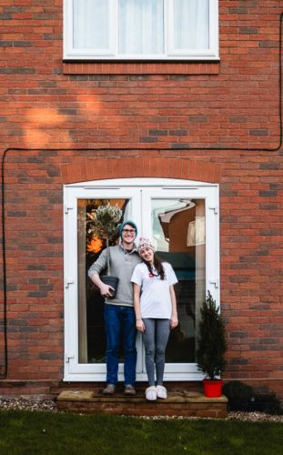 Doorstep Photoshoot of Scott Kendall and Pippa Lyon during lockdown in Whitstable